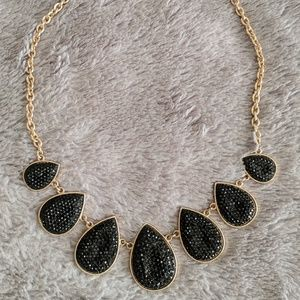 Black and Gold Teardrop Statement Necklace